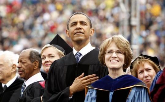 President Obama spoke yesterday at the University of Michigan commencement ceremony in Ann Arbor, Mich.