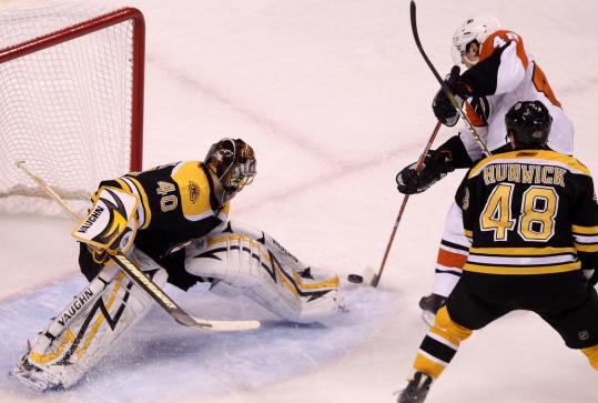 Daniel Briere beats Tuukka Rask for the tying goal in the third period, which sent things to OT.