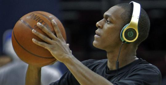 A more consistent Game 2 would be music to the ears of Rajon Rondo, pictured before practice.