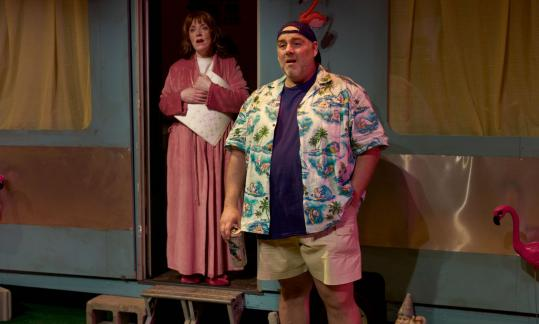"Leigh Barrett and David Benoit star in SpeakEasy Stage Company's ""The Great American Trailer Park Musical.''"