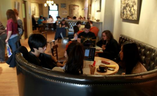 Have a seat in the comfy cafe at Pavement Coffeehouse.