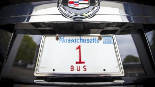 The license plate known as Bus 1 is at the center of an emotional tug of war among the Legislature, the Registry of Motor Vehicles, and Biff Michaud, whose large North Shore family founded Michaud Bus Lines in 1914.