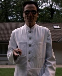 Dieter Laser plays a madman who surgically binds people.