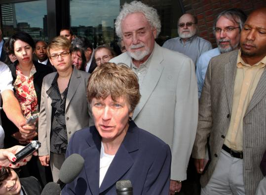 Mary L. Bonauto, a lawyer for Boston-based Gay & Lesbian Advocates and Defenders, spoke to reporters yesterday.