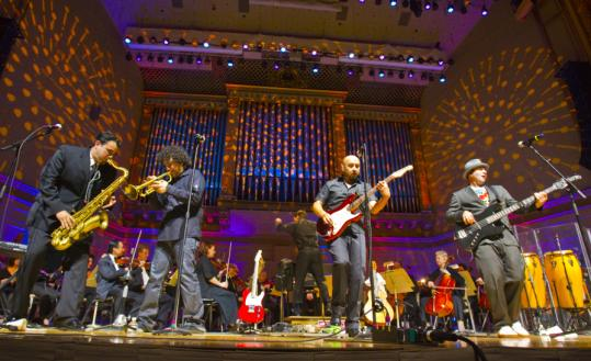 Los Angeles-based band Ozomatli joined Keith Lockhart and the Boston Pops at Symphony Hall. The Pops is celebrating its 125th anniversary.