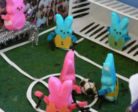 Peeps playing soccer.