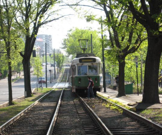 An outbound C line train on the Green Line is pictured approaching St. Paul Street. Reader Brian Clague believes the MBTA's scheduling of C line trains leaves much to be desired.