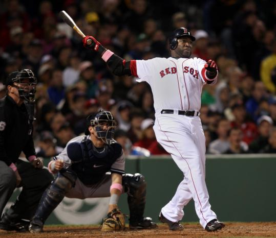 David Ortiz puts his power stroke on display in the third inning, a ground-rule double to right filed that brought home the Red Sox' third run.