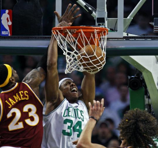 Paul Pierce scored just 9 points, but 2 came when he got by LeBron James for a key baseline dunk to give the Celtics a 90-85 lead in the fourth quarter.