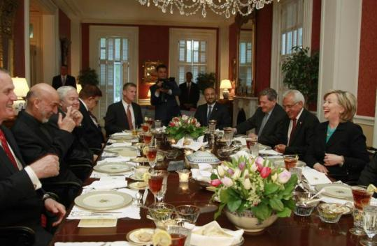 US Secretary of State Hillary Clinton attended a dinner with Afghanistan's President Hamid Karzai (second from left).