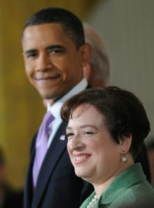 President Obama praised Supreme Court nominee Elena Kagan's understanding of the law.
