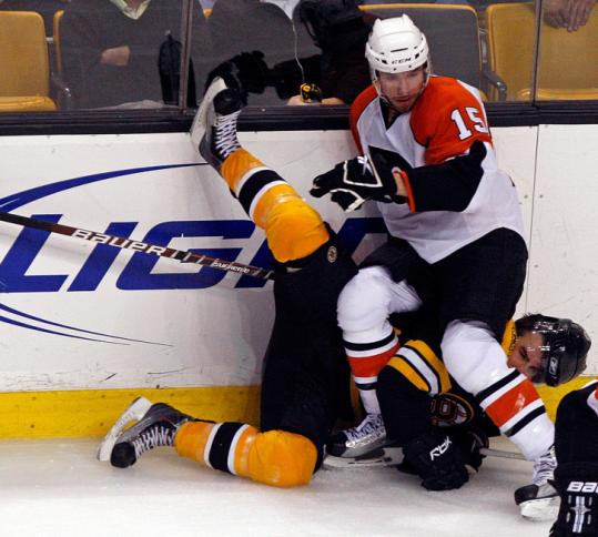 The Flyers' Andreas Nodl was credited with one hit, and he had the lowdown on Bruin Johnny Boychuk in the third period.
