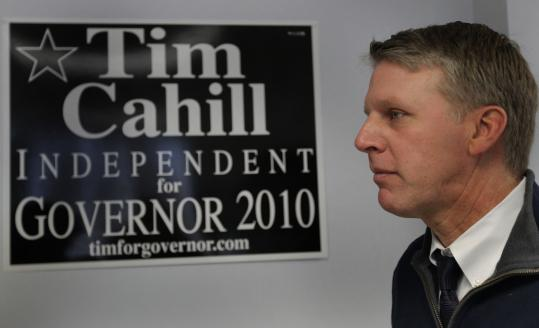 Gubernatorial candidate Timothy P. Cahill, an independent, said he won't spend heavily to respond to attack ads by the Republican Governors Association this early in the race.