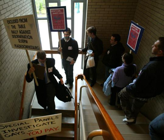 Members of the Harvard Law School Lambda group in October 2005 protested the decision to allow military recruiters back on campus.