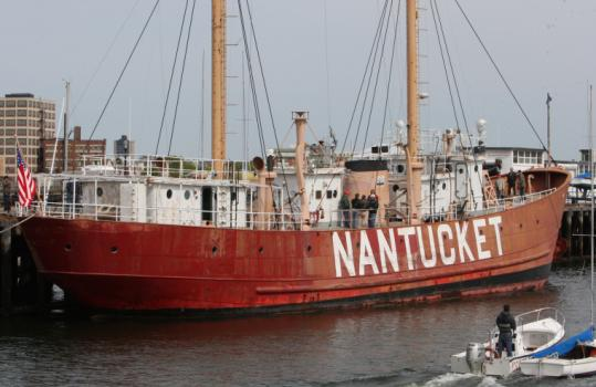 The Nantucket Lightship LV-112, decommissioned in 1975, is docked at Charlestown Navy Yard, destined to be a museum.