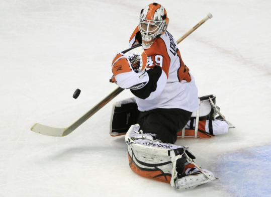The Bruins barely tested (14 shots) Flyers goalie Michael Leighton after he replaced the injured Brian Boucher.