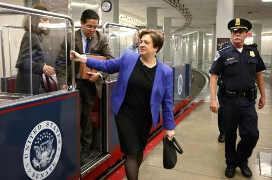 Elena Kagan, Supreme Court nominee, traversed Capitol Hill by tram as she made the rounds of Senate leaders yesterday.