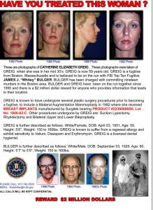 The FBI took out a full-page ad in the April-May edition of Plastic Surgery News, featuring photos of Catherine Greig.