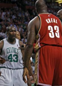 Kendrick Perkins (43) and Shaquille O'Neal sized each other up in Game 6.
