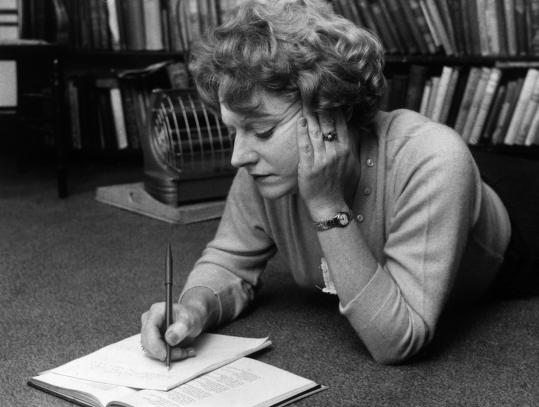 "Muriel Spark makes notes while lying on the floor in 1960. ""The Prime of Miss Jean Brodie'' was published the next year."