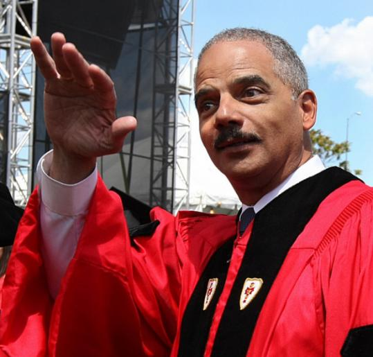 US Attorney General Eric H. Holder, Jr.steered clear of terrorism in his commencement address at BU.