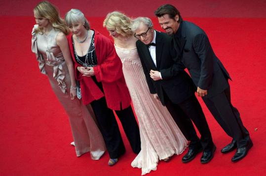 "From left: Lucy Punch, Gemma Jones, Naomi Watts, Woody Allen, and Josh Brolin at the screening of Allen's ""You Will Meet a Tall Dark Stranger.''"