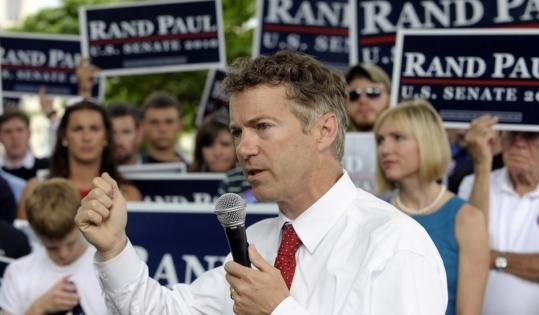 Republican Rand Paul campaigned in Bowling Green, Ky., yesterday. Paul, the son of the former presidential candidate, is facing Trey Grayson, the secretary of state, in the GOP primary.