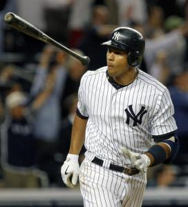 The Yankees&#8217; Alex Rodriguez tosses his bat after hitting a game-tying two-run homer off Jonathan Papelbon in the bottom of the ninth inning.