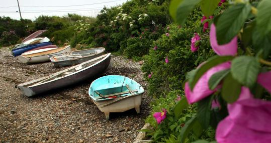 Sakonnet Harbor, opening into Rhode Island Sound, offers bucolic views.