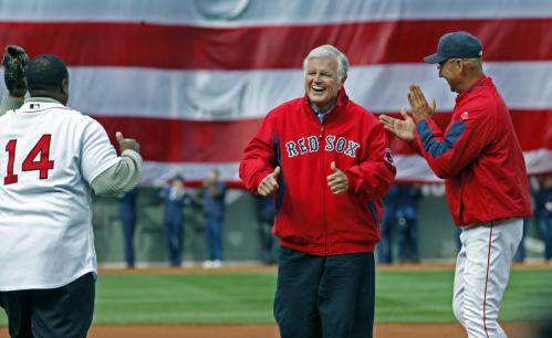Before the Red Sox opened the 2009 season against the Tampa Bay Rays at Fenway Park, Massachusetts Senator Edward Kennedy threw out the ceremonial first pitch. After he threw a second pitch to Jim Rice, he gave the thumbs up as Francona applauds at right.