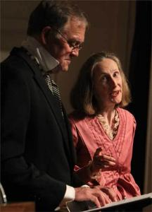 Donna Davis playing Margaret Fuller and Alec Walker playing Ralph Waldo Emerson during a dress rehearsal of the 'Margaret Fuller Story' at the First Parish Church in Concord on May 9.