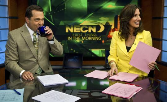 NECN anchors Mike Nikitas and Karen Swensen prepared for the station&#8217;s &#8220;First Thing in the Morning&#8217;&#8217; newscast.