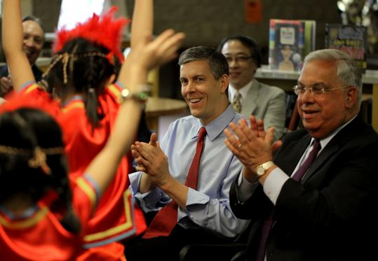 US Education Secretary Arne Duncan made several stops in Boston yesterday, including a visit to the Josiah Quincy Elementary School, where he joined Mayor Thomas Menino. They watched second-graders perform a Taiwanese Aboriginal dance.