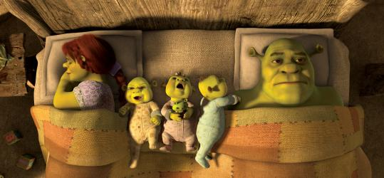 """Shrek (voiced by Mike Myers) deals with toddler triplets and midlife woes in """"Shrek Forever After.'' Cameron Diaz returns to give voice to his wife, Fiona."""