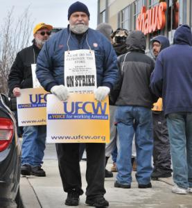 Employees walked a picket line outside a Shaw's in Somerville.