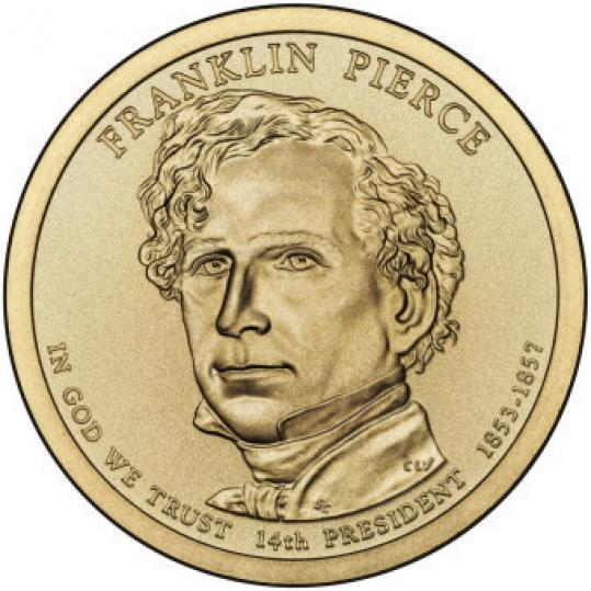 New Hampshire native Franklin Pierce's likeness is emblazoned on the $1 coin.