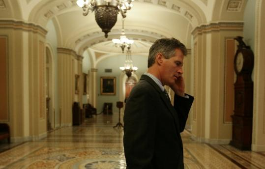 Senator Scott Brown, outside the Senate chamber this week, has been repudiated by some former supporters because of his vote in favor of a bill to overhaul Wall Street regulations.