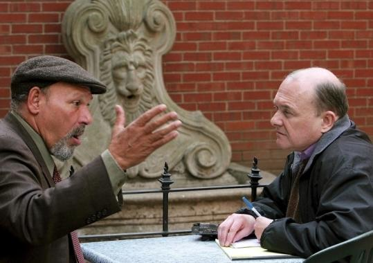 Influential and candid critic Michael Kuchwara (right) interviewed playwright August Wilson in April 2005.