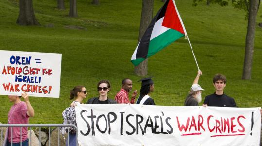 Protesters demonstrated at the site of Brandeis graduation ceremonies, where Israeli Ambassador Michael Oren spoke.