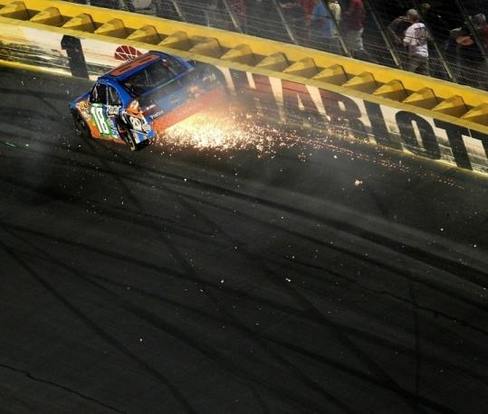 Kyle Busch hits the wall during the NASCAR Sprint All-Star race Saturday night at Charlotte Motor Speedway.