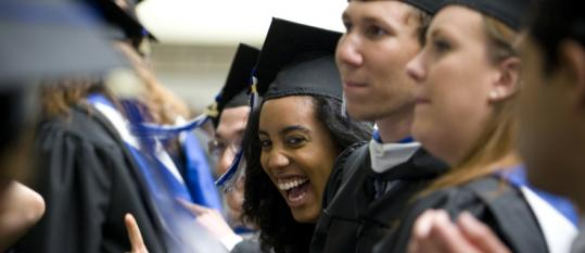 Brandeis University seniors were jubilant as they filed into their graduation ceremonies yesterday in Waltham.
