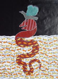 """""""Kaag Bhusund Alights on Nag Devita'' (2007) by Bhajju Shyam, from the exhibit of contemporary Pardhan Gond art."""