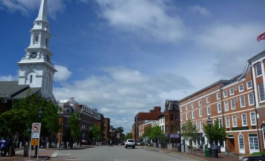 The view down Congress Street includes North Church, built in 1854.