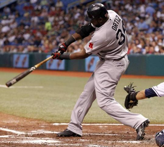 With one crack of the bat, the Red Sox had two runs, as David Ortiz doubles in the third inning, driving in J.D. Drew (single) and Kevin Youkilis (walk).