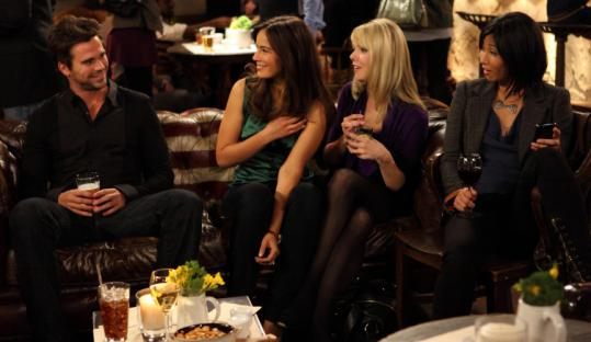 "From left: David Walton, Sophie Winkleman, Collette Wolfe, and Smith Cho are single New Yorkers in ""100 Questions.''"