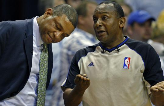 Coach Doc Rivers received an official explanation after Kendrick Perkins was hit with his second technical foul and ejected.