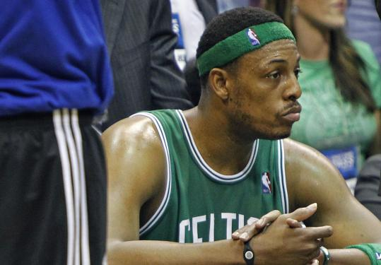 Late in the game, Paul Pierce could only reflect on the beating he and the Celtics took in Game 5 last night.