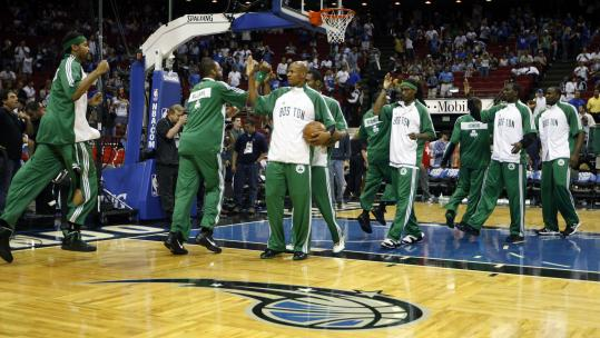 The Celtics weren't just going through the motions at Amway Arena; Ray Allen led the parade of high-fives in warm-ups before Game 5 against Orlando.