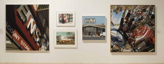 "Robert Cottingham's ""Discount Store'' (left) and David Parrish's ""Yamaha'' (right) are featured in the current exhibition, The Rose Art Museum at Brandeis: Works from the Collection."