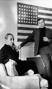 New York gallery owner Leo Castelli (left) in 1966 with Jasper Johns, one of the American contemporary artists he discovered and promoted.